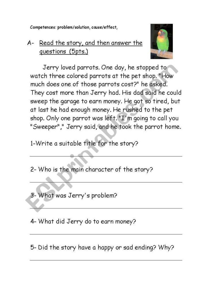 Problem and solution Reading Worksheets