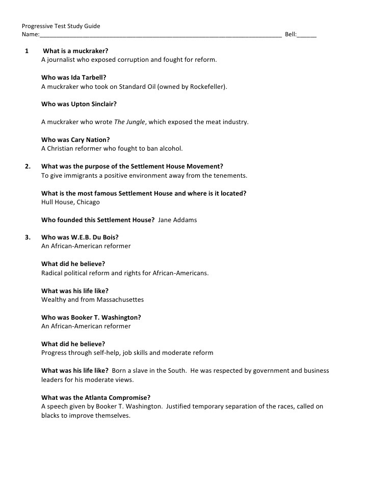 Progressive study guide with answers