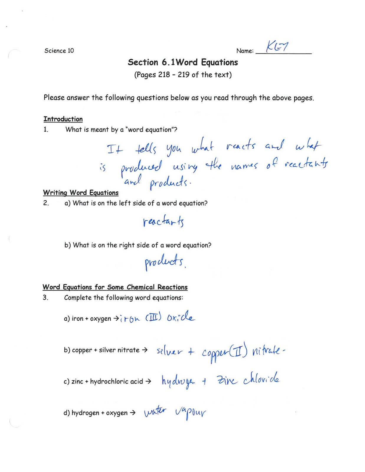 Reading Chemical Equations Worksheet