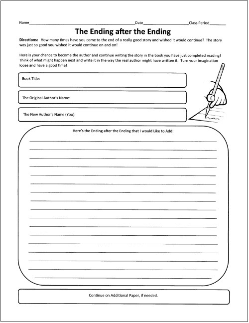 Reading Response Worksheets Middle School