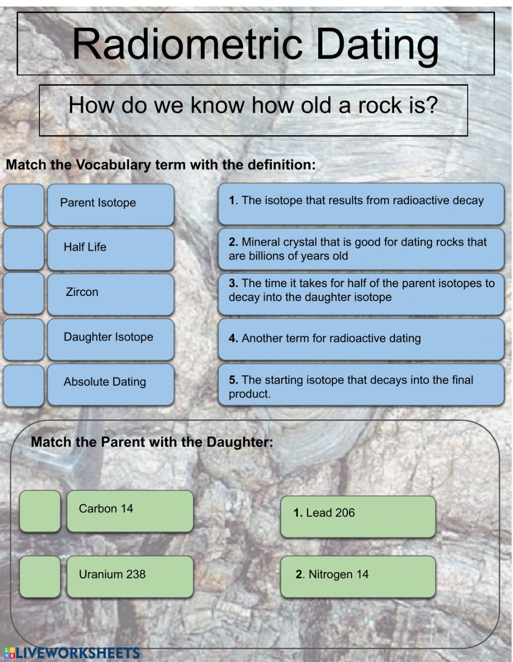 Relative and Absolute Dating Worksheet