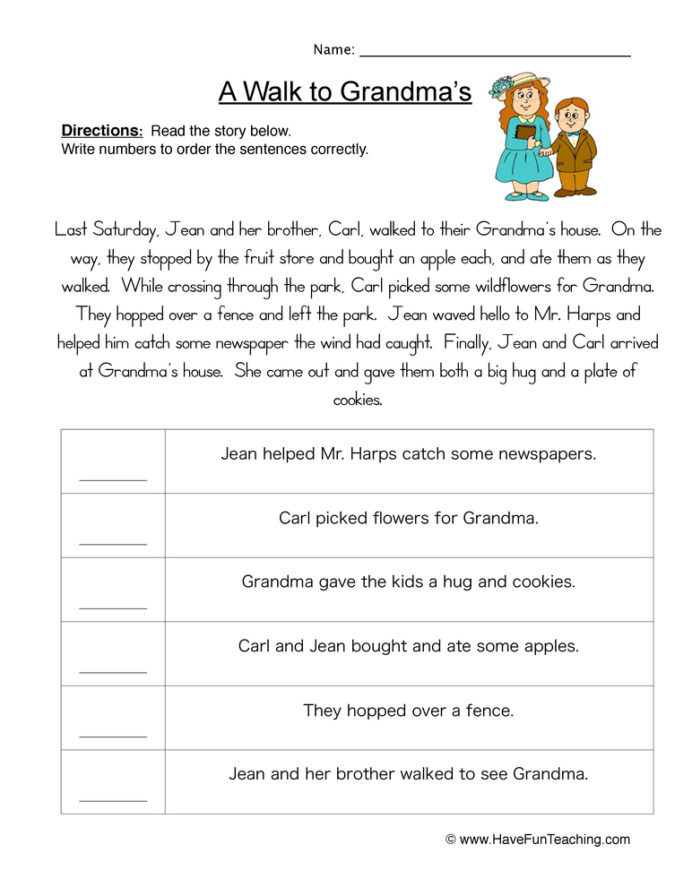 Sequence Worksheets 4th Grade