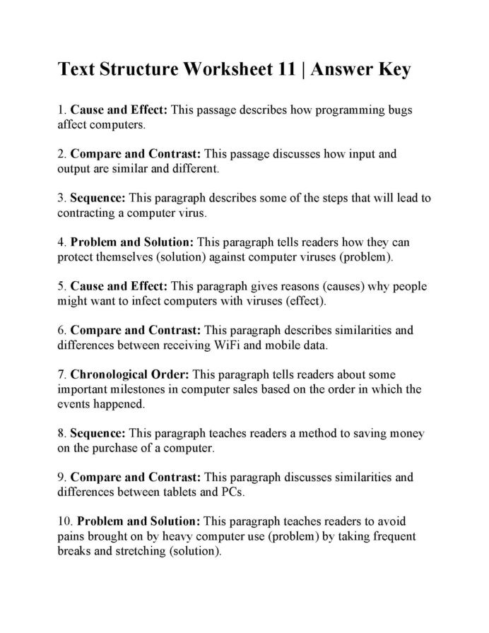 Text Structure 3rd Grade Worksheets