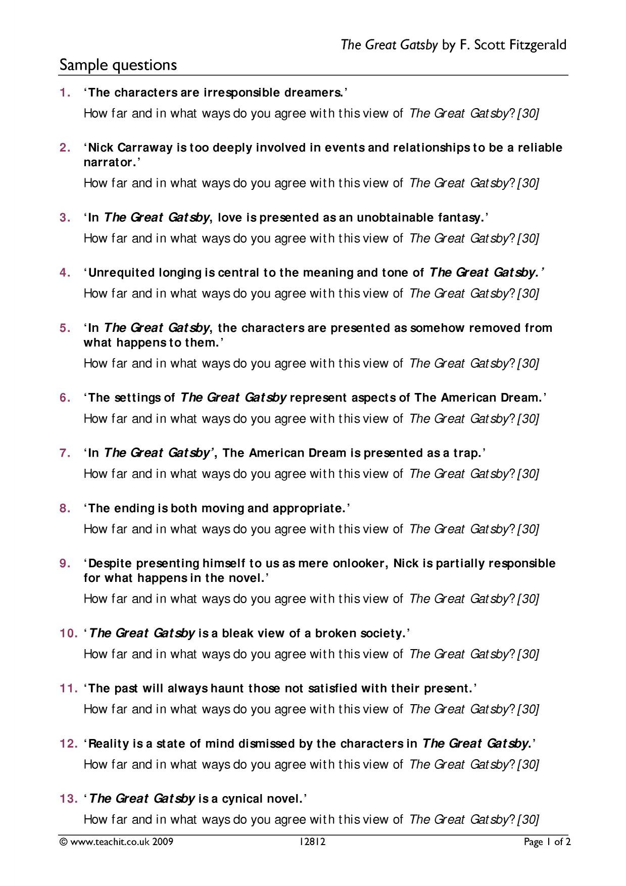 The Great Gatsby Movie Worksheet