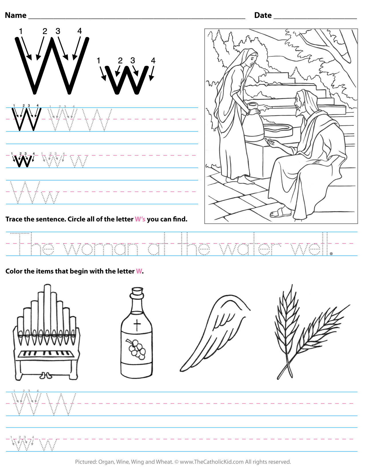 The Letter W Worksheets