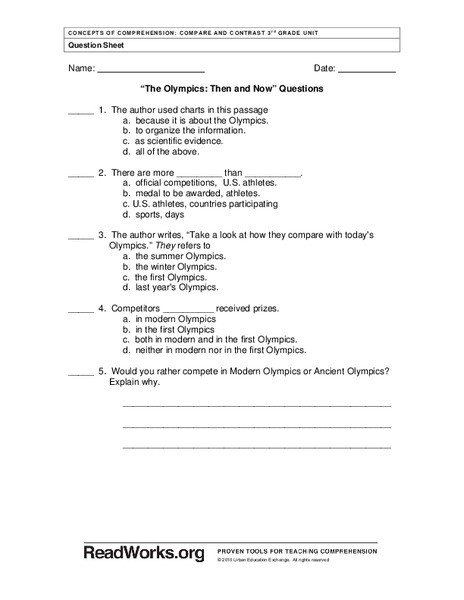Then and now Worksheet