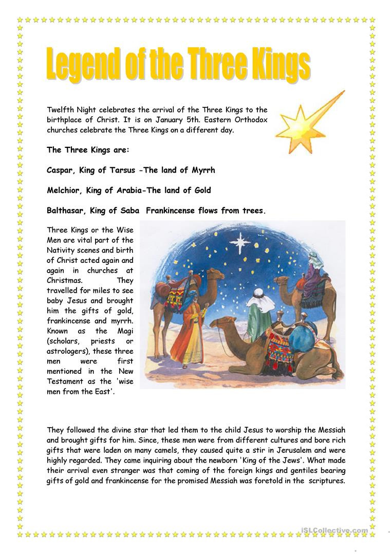 The three Kings English ESL Worksheets for distance