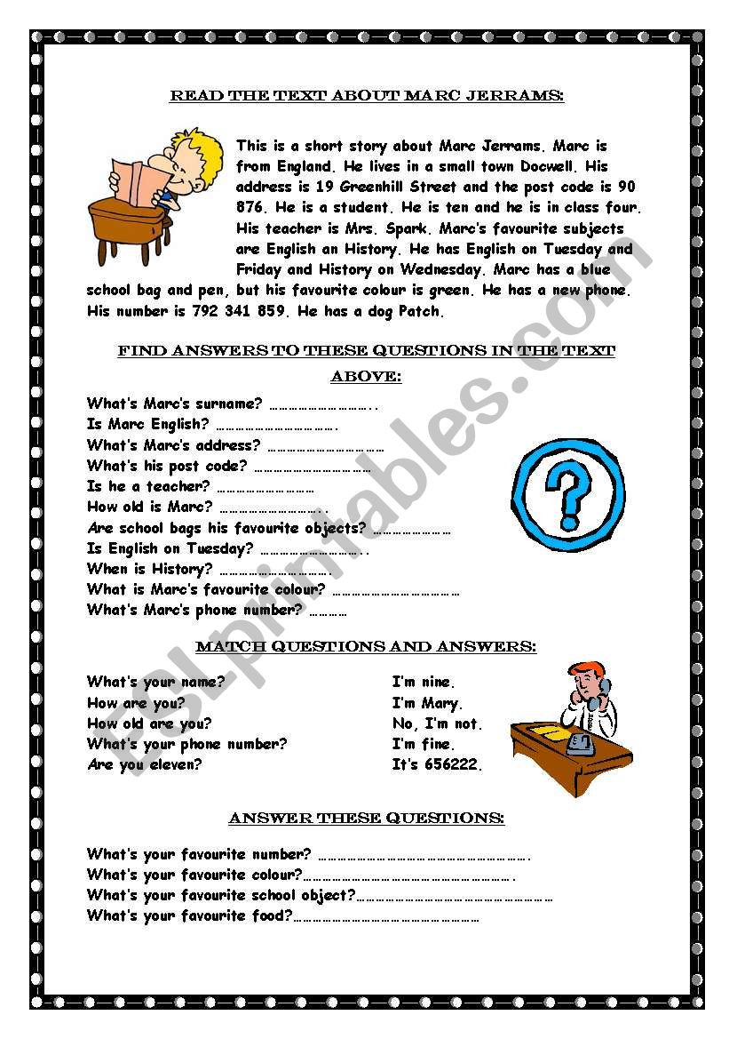 Wh Questions Reading Comprehension Worksheets