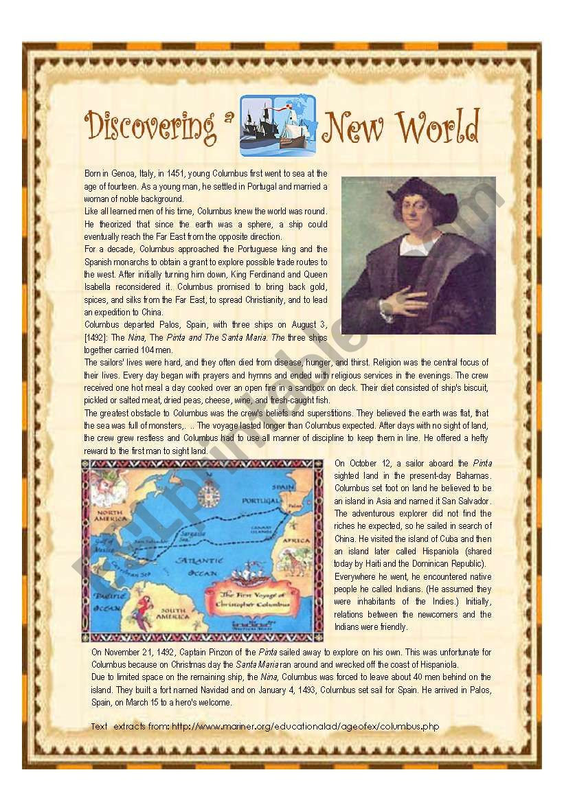 Who Really Discovered America Worksheet