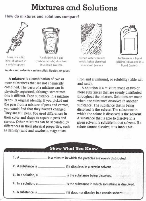 Worksheet Mixtures and solutions