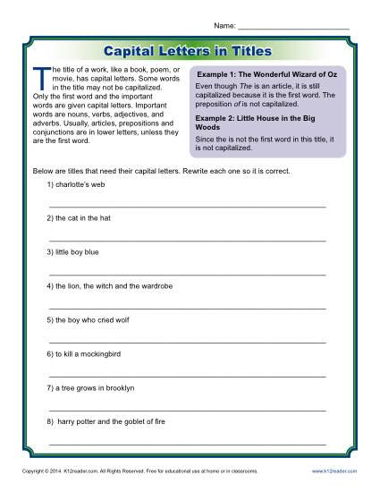 Capitalization Activity Letters in Titles