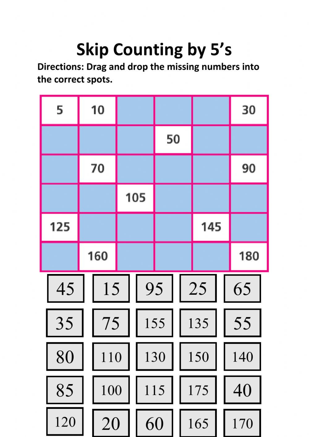Counting to 120 Worksheets