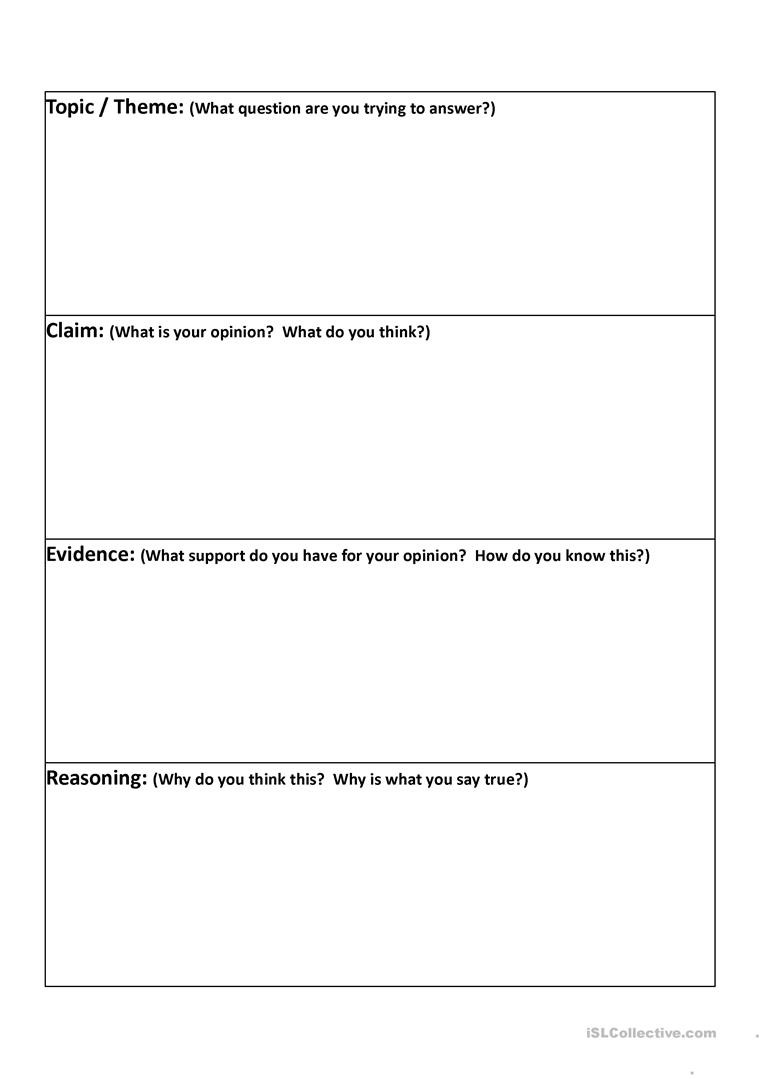 Identifying Claims and Evidence Worksheet