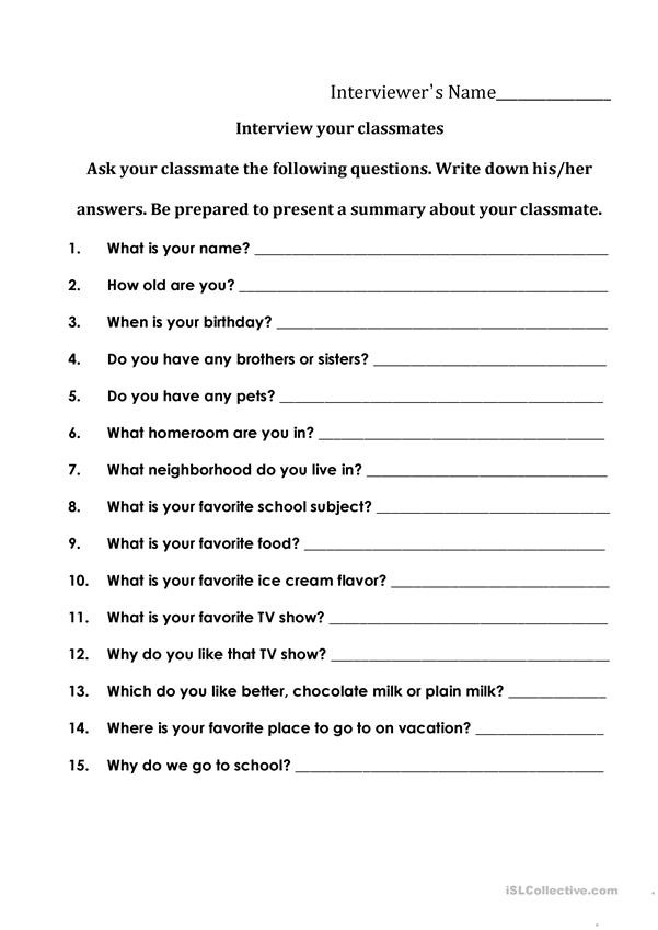 Interviewing your Classmates English ESL Worksheets for