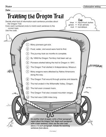Traveling the Oregon Trail Lesson Plans The Mailbox