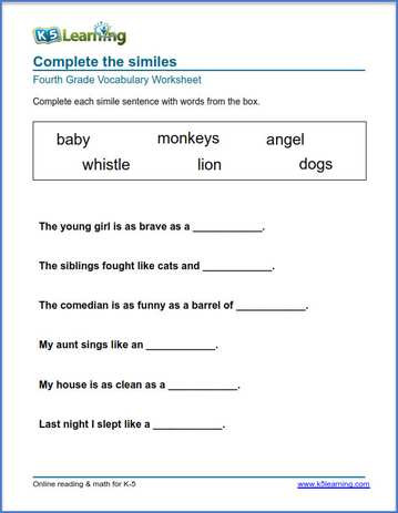 Grade 4 Vocabulary Worksheets – printable and organized by