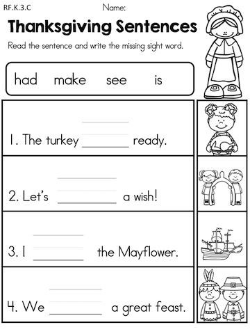 plete the Thanksgiving Sentences by writing the missing