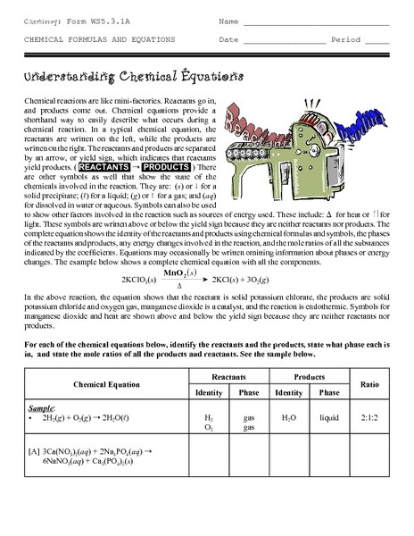 Understanding Chemical Equations Worksheet for 10th Higher